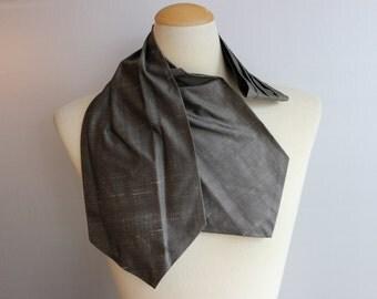 Vintage Grey Tie Ascot Cravat Raw Silk