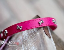 Pink Leather Dog Collar, Custom Leather Dog Collar, Personalized Dog Collar, Leather Bone Dog Collar
