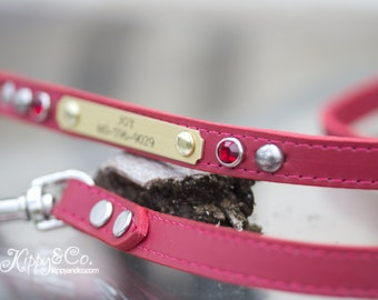 Red Leather Dog Leash, Red Leather Crystal, Personalized Dog Leash, Leather Leash