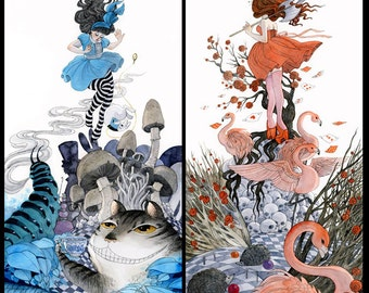 SPECIAL- Alice in Wonderland and The Queen of Hearts - set of 2 prints - 8x16