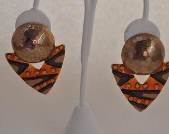 Copper and Orange Earrings