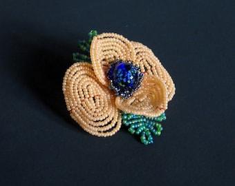 Orange Field Poppy Pin - French Beaded Flower