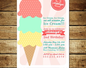 Vintage ICE CREAM...Custom Birthday Invitation...by KM Thomas Designs