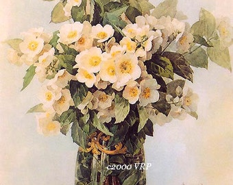 French Summer Flower Bouquet Print Paul de Longpre Dogwood Iris