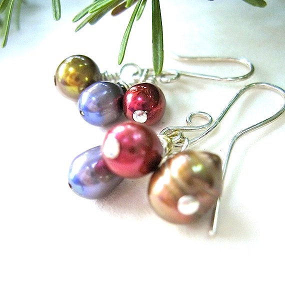 Pearl Cluster Earrings Cranberry, Golden, Iris Dangle Drops, Sterling Silver Earwires
