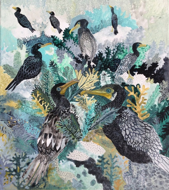 Cormorants in Somes Sound, Bar Harbor  - Original painting
