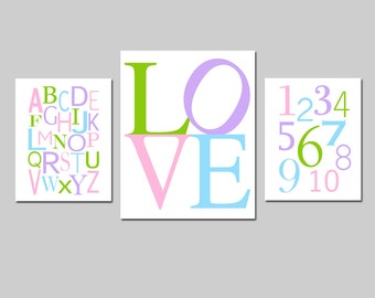 Kids Wall Art - Set of Three Prints - Nursery Art - Alphabet, Numbers, Love - 8x10 and 11x14 - Wall Decor - CHOOSE YOUR COLORS