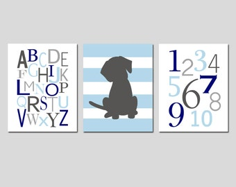 Kids Wall Art - Puppy Dog Nursery Art - Set of Three 8x10 Prints - Nursery Art - Alphabet, Numbers, Striped Puppy Dog - CHOOSE YOUR COLORS