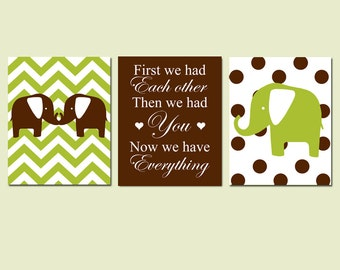 Chevron Elephant Nursery Art Trio - Set of Three 8x10 Prints - First We Had Each Other, Then We Had You, Now We Have Everything
