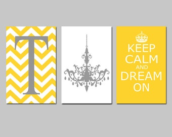 Keep Calm and Dream On, Chevron Monogram Initial, Chandelier Trio - Set of Three 11x17 Prints - CHOOSE YOUR COLORS