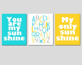 Yellow Grey Aqua Nursery Art Trio - You Are My Sunshine, Modern Alphabet - Set of Three 11x14 Prints - CHOOSE YOUR COLORS