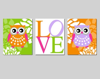 Owl Love Floral Nursery Art Trio - Set of Three 8x10 Prints - Kids Wall Art - CHOOSE YOUR COLORS