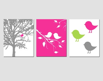 Baby Bird Nursery Decor Nursery Art Trio - Set of Three 8x10 Prints - CHOOSE YOUR COLORS - Shown in Hot Pink, Soft Apple Green and More