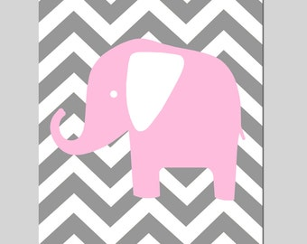 Chevron Elephant Silhouette Nursery Art Print - 8x10 - CHOOSE YOUR COLORS - Shown in Gray, Light Pink, and More