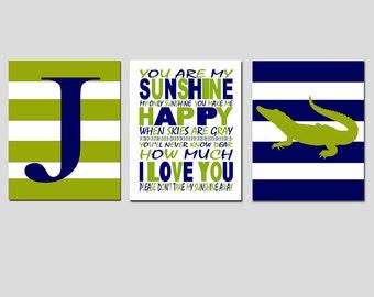 Alligator Stripe Boy Nursery Art Trio - Set of Three 8x10 Prints - Striped Initial, You Are My Sunshine - CHOOSE YOUR COLORS