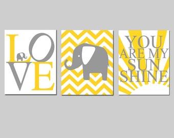 Sunshine Elephant Nursery Art - Set of Three 11x14 Prints - Elephant Love, Chevron Elephant, You Are My Sunshine - Choose Your Colors