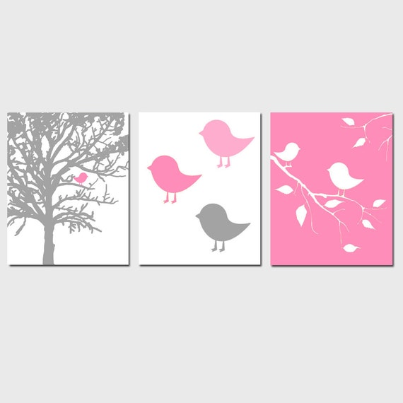 Modern Bird Trio - Set of Three 11x14 Prints - Nursery Decor - Choose Your Colors - Shown in Pink, Gray, Yellow, and More