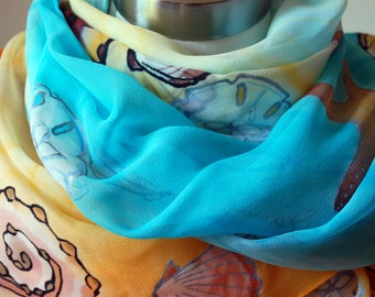 "Long Hand-Painted Silk-Chiffon Scarf -""Sea Stars and Shells""-Perfect Gift for Mom with Summer Colors. 22''x90""."