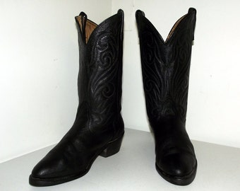 Black on Black  Western style cowboy boots size 9 E or cowgirl size 10.5 wide