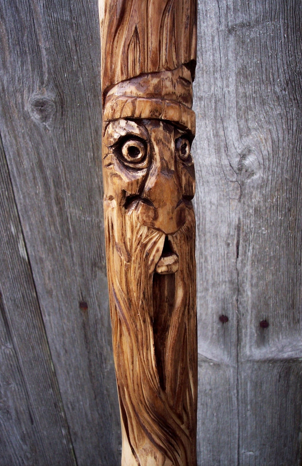 Walking Stick With Hand Carved Wood Spirit 60