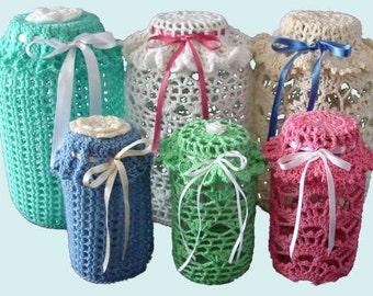 Easy Lace Jar Covers Set 1 Crochet Pattern PDF
