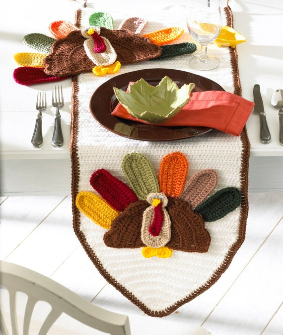 Turkey Table Runner and Placemat Crochet Pattern-PA989