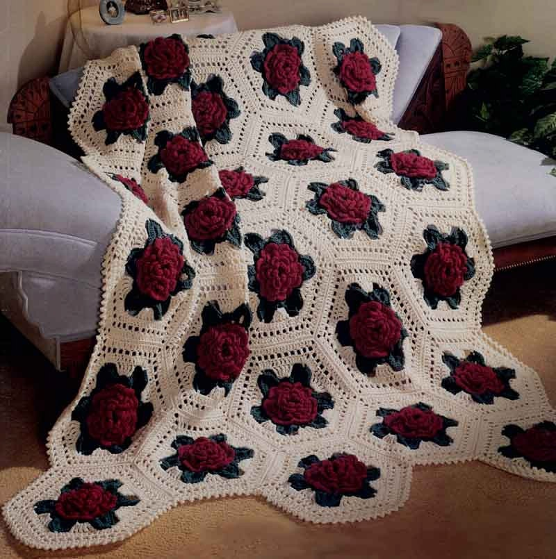 Crochet Rose Afghan Pattern : Victorian Rose Afghan Crochet Pattern PDF