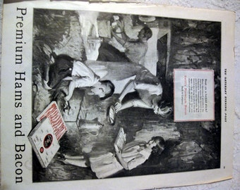 1924 Swift's Premium Ham and Bacon Ad Family Camping Mom Dad Kids