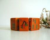 Vintage Bakelite Bracelet Mah Jong Tiles 1930s Orange Stretch Bracelet
