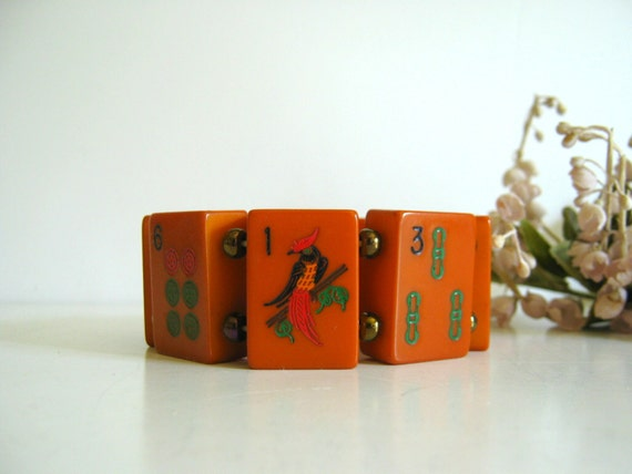 Vintage Bakelite Bracelet Mah Jong Tiles 1930s Orange Stretch Bracelet