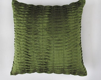 olive green pinntuck covers in dupioni  silk  decorative throw pillow. 16 inch