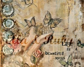 mixed media hands and butterflies collage painting print 'beautiful mess' - ellaandrubys