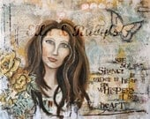mixed media woman portrait butterfly collage painting print 'whispers of her heart'