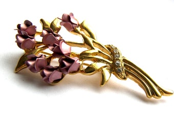 Mauve Rose Bouquet Brooch Pin, Rose Pin, Roses, Old Brooch, Recycled Jewelry, Vintage Jewelry, Gold Pin, Pink Brooch, Gift Ideas, Long Stem