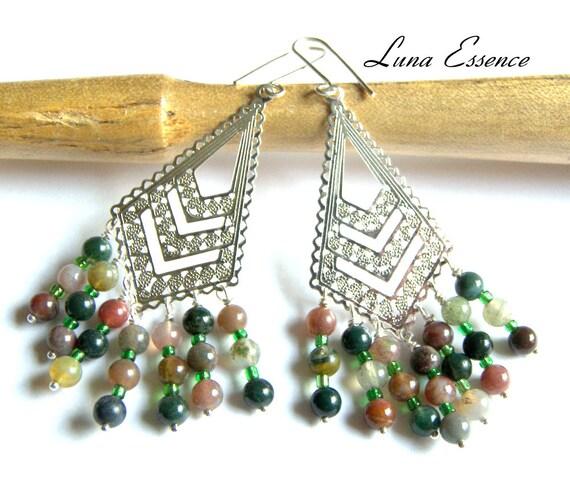 Fancy Jasper Earrings , Jasper Earrings  , Hippie Bohemian Tribal Ethic , Filigree Jewelry Gift Ideas Sterling Silver Jewelry Green Jewelry