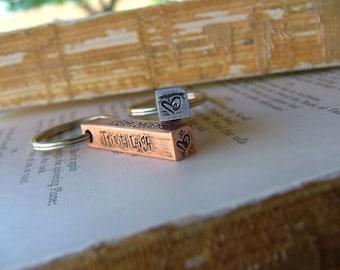 Raising The Bar Custom Hand Stamped Copper or Aluminum Bar Key Chain by MyBella