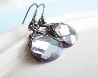 Swarovski Crystal Earrings - Teardrop Crystal Lilac Flash