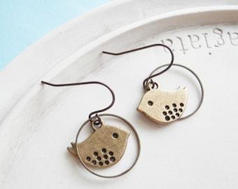 Bird Earrings - Little Mod Chickadee Earrings