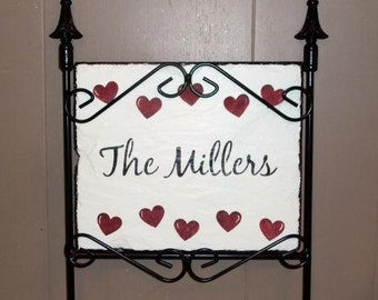 Personalized Valentine Slate and holder