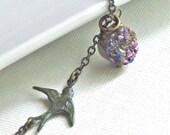 Titanium Druzy Necklace - Pendant, Verdigris Patina Bird, Brass