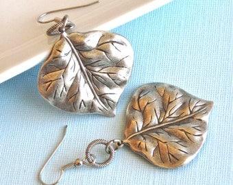 Silver Leaf Earrings - Large Earrings, Leaf Jewelry, Nature Jewelry