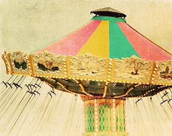 Nursery Art, Carnival Photography, Carnival Ride, Swing, Sunshine, Bright, Childrens Room, Vintage Inspired - Rainbow Swing Love