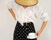 Vtg 80s Victorian Revival White Lace Jabot  Blouse M/L