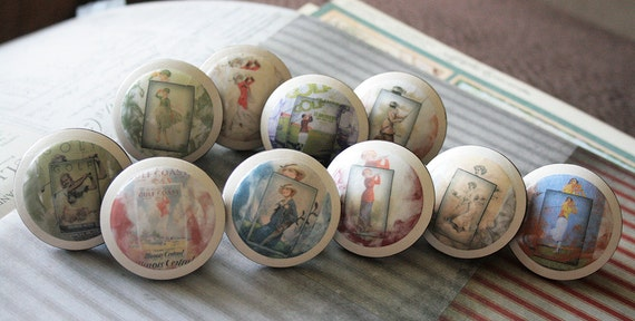 Vintage Ladies in Golfing Drawer Knob 10 pc set