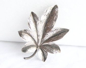 Sterling Silver Leaf Brooch Vintage Italian Antiqued Silver Pin Signed Italy