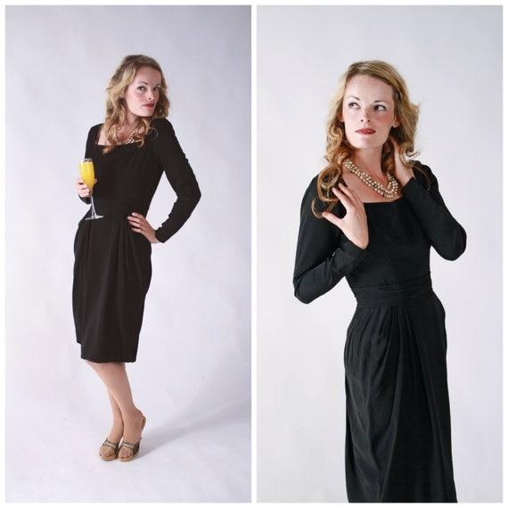 Vintage 1950s Dress - Ceil Chapman Perfectly Draped Fine Silk Black Cocktail Dress