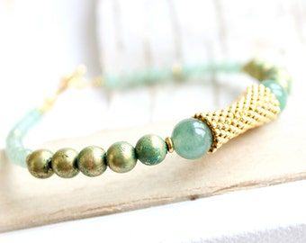 SALE - Light Green Gold Beadwork Bracelet Verdigris Patina Gold Beadwoven Stone Aventurine Beaded Handmade Boho Jewellery