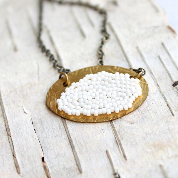 White Gold Beadwork Pendant Necklace Glass Bead Woven Brass Beadwoven Fluffy Cloud Jewellery