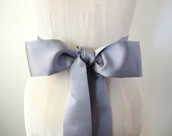 Gray Matte Satin Sash, Bow Belt,  Wedding Sash, Bridal Sash
