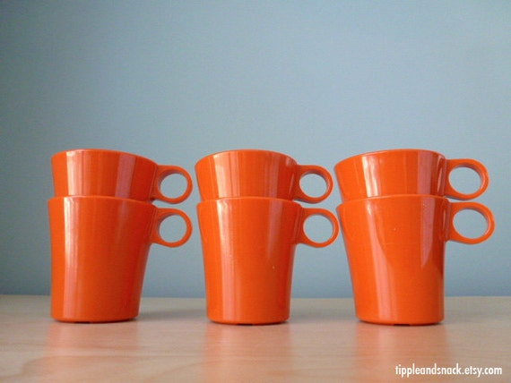 6 Vintage Deka Plastics Tangerine Stacking Mugs